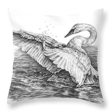 White Swan - Dreams Take Flight Throw Pillow