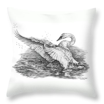 White Swan - Dreams Take Flight Throw Pillow by Kelli Swan