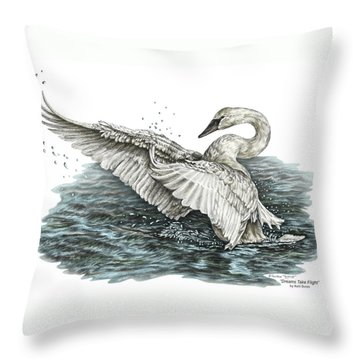Throw Pillow featuring the drawing White Swan - Dreams Take Flight-tinted by Kelli Swan