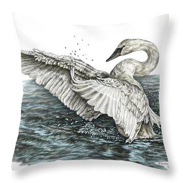 White Swan - Dreams Take Flight-tinted Throw Pillow