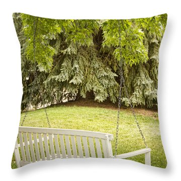 White Swing In The Green Throw Pillow by James BO  Insogna