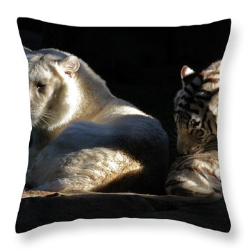 White Tiger And Lion Throw Pillow
