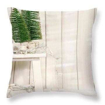 White Tree Lights  Throw Pillow by Sandra Cunningham