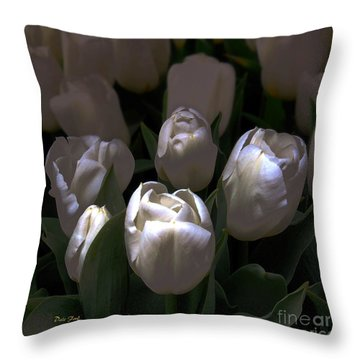 White Tulips Throw Pillow by Dale   Ford