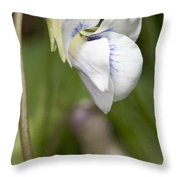 White Violet Macro Throw Pillow