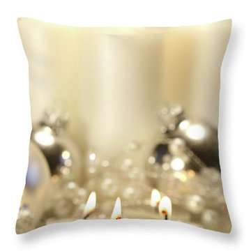 White Votive Candles  Throw Pillow by Sandra Cunningham