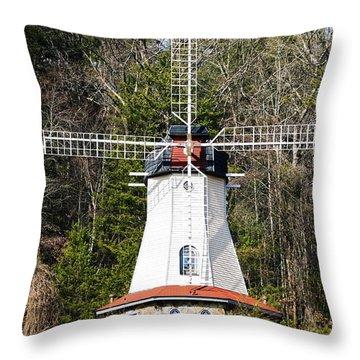 Throw Pillow featuring the photograph White Windmill by Susan Leggett