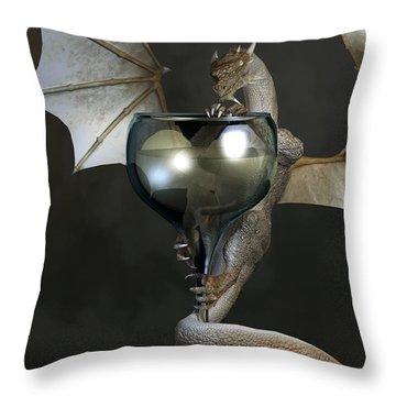White Wine Dragon Throw Pillow by Daniel Eskridge