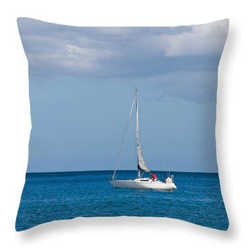White Yacht Sails In The Sea Along The Coast Line Throw Pillow by Ulrich Schade