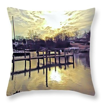 White's Cove In Winter Throw Pillow by Brian Wallace