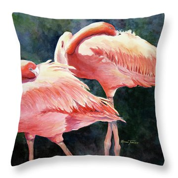 Who's Peek'n - Flamingos Throw Pillow by Roxanne Tobaison