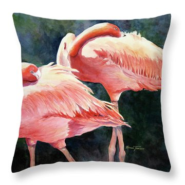 Who's Peek'n - Flamingos Throw Pillow