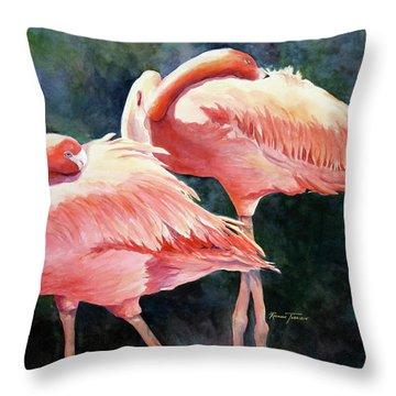 Who's Peek'n - Flamingos Throw Pillow