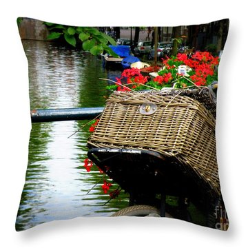 Wicker Bike Basket With Flowers Throw Pillow