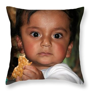 Throw Pillow featuring the photograph Wide-eyed Child by Laurel Talabere