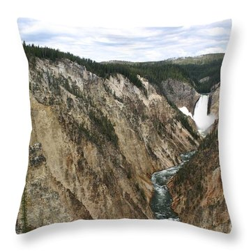 Throw Pillow featuring the photograph Wide View Of The Lower Falls In Yellowstone by Living Color Photography Lorraine Lynch