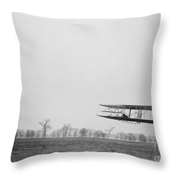 Wilbur Wright Piloting Wright Flyer II Throw Pillow by Science Source