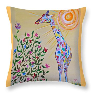 Wild And Crazy Giraffe Throw Pillow