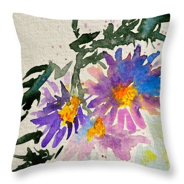 Wild Asters Throw Pillow by Beverley Harper Tinsley