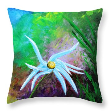Throw Pillow featuring the painting Wild Daisy 2 by Kume Bryant