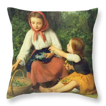 Wild Flowers Throw Pillow by William Charles Thomas Dobson