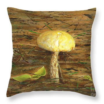 Throw Pillow featuring the painting Wild Mushroom On The Forest Floor by Judy Filarecki