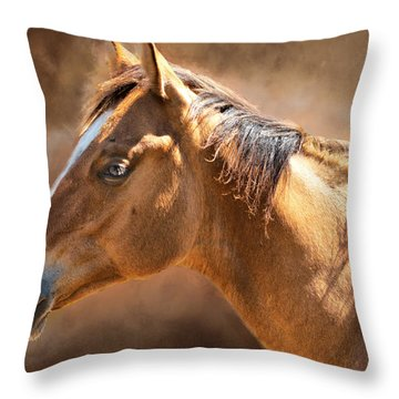 Throw Pillow featuring the digital art Wild Mustang by Mary Almond