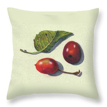 Wild Plums And Leaf Throw Pillow by Joyce Geleynse