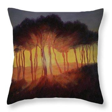 Wild Trees At Sunset Throw Pillow by Antonia Myatt