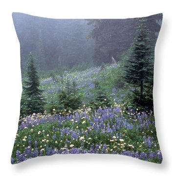 Wildflower Meadow Mt Rainier Throw Pillow