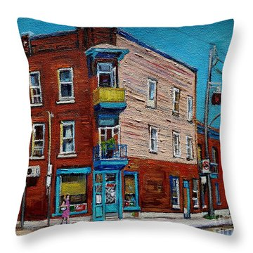 Wilensky's Light Lunch Plateau Montreal Throw Pillow by Carole Spandau