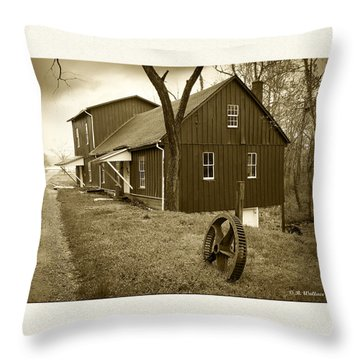 Williston Mill - Sepia Throw Pillow by Brian Wallace