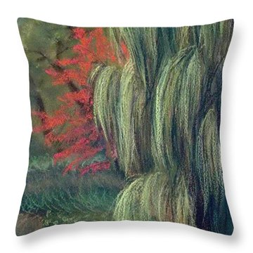 Throw Pillow featuring the drawing Willow Tree - Hidden Lake Gardens -tipton Michigan by Yoshiko Mishina