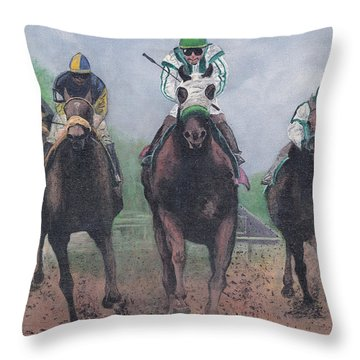Win Place And Show Throw Pillow by Stuart B Yaeger