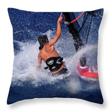 Wind Surfing Throw Pillow by Manolis Tsantakis