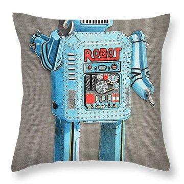 Wind-up Robot 2 Throw Pillow