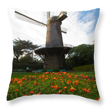 Windmill And Poppies Throw Pillow