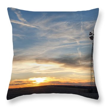 Throw Pillow featuring the photograph Windmill And Sunset by Art Whitton