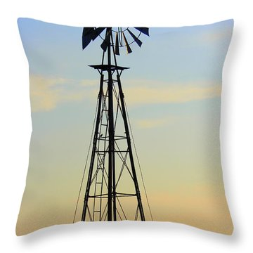Throw Pillow featuring the photograph Windmill At Dusk by Kathy  White