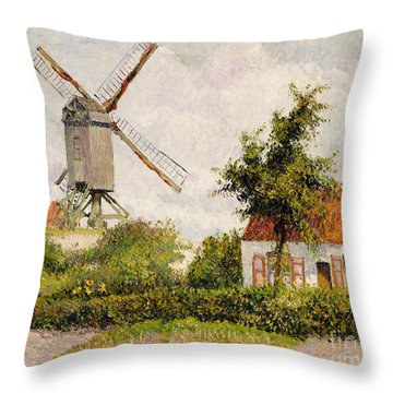 Windmill At Knokke Throw Pillow by Camille Pissarro