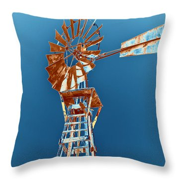 Windmill Rust Orange With Blue Sky Throw Pillow by Rebecca Margraf