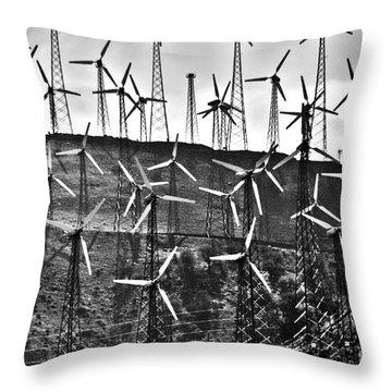 Windmills By Tehachapi  Throw Pillow by Susanne Van Hulst