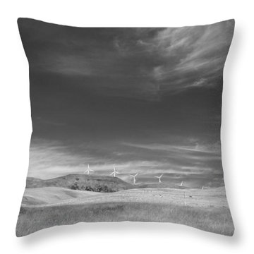 Throw Pillow featuring the photograph Windmills In The Distant Hills by Kathleen Grace