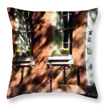 Window Boxes Greenwich Village Throw Pillow by Susan Savad