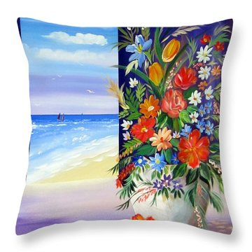 Throw Pillow featuring the painting Window On The Beach by Roberto Gagliardi