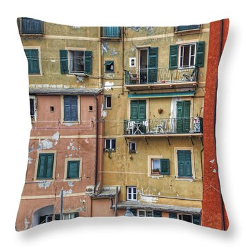 Windows Of Camogli Throw Pillow by Joana Kruse