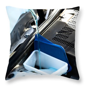 Windshield Cleaning Fluid Throw Pillow by Photo Researchers