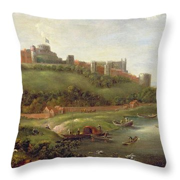 Windsor Castle Throw Pillow by Hendrick Danckerts