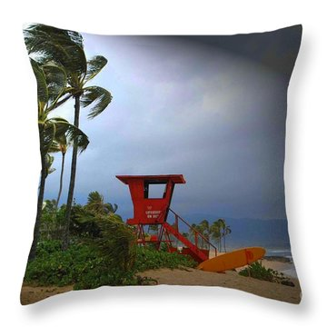 Windy Day In Haleiwa Throw Pillow by Mark Gilman