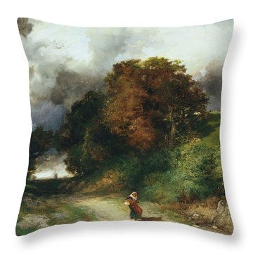 Windy Hilltop Throw Pillow by Thomas Moran